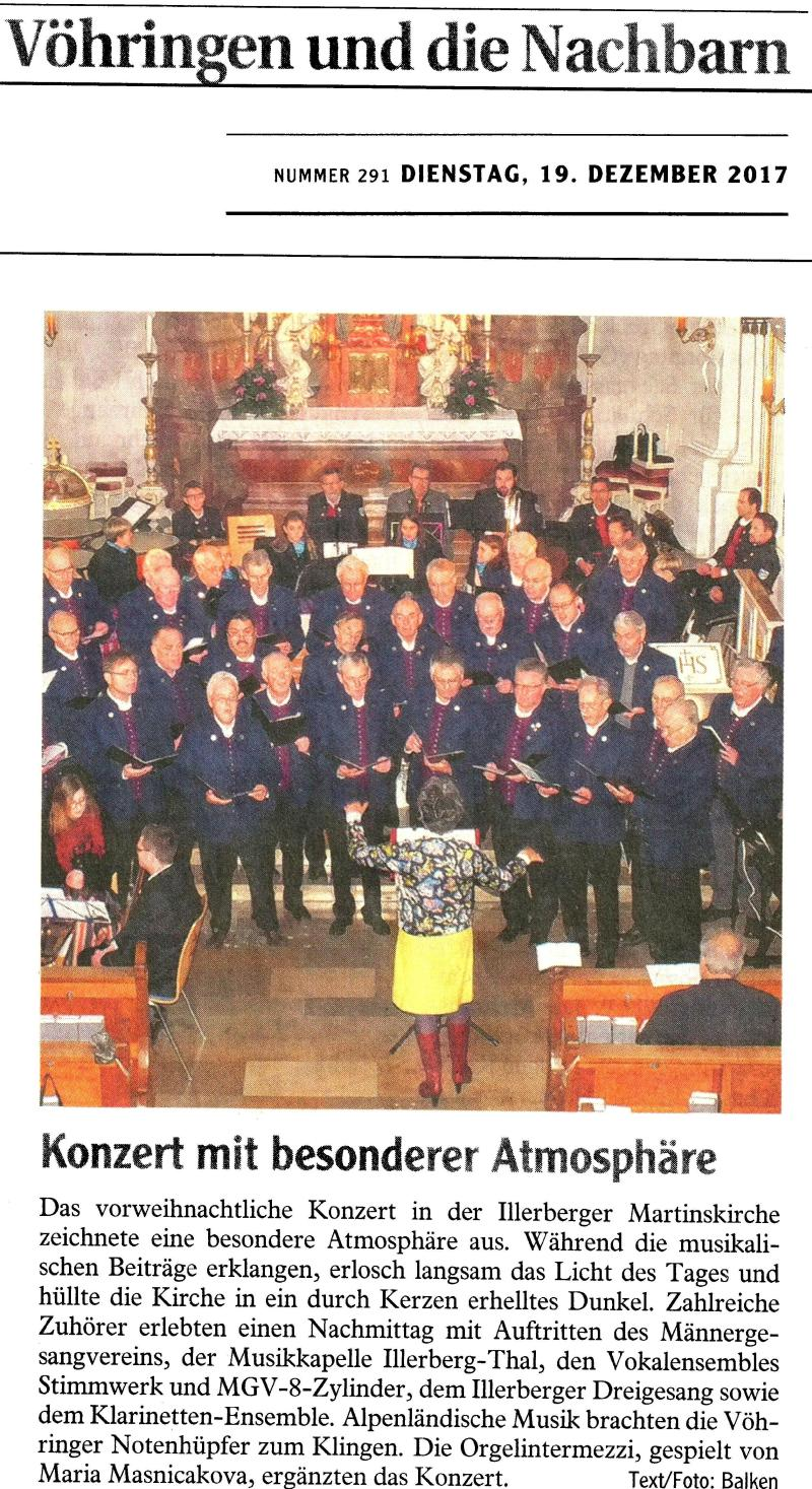 Adventskonzert am 17. Dez. 2016 in der Kirche St. Martin in Illerberg